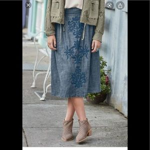 "Sundance ""Becca"" embroidered blue skirt"